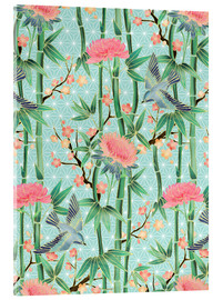 Akrylbillede  bamboo birds and blossoms on mint - Micklyn Le Feuvre