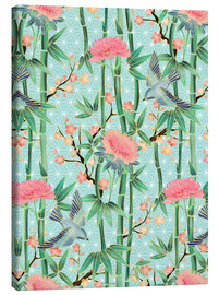 Lærredsbillede  bamboo birds and blossoms on mint - Micklyn Le Feuvre