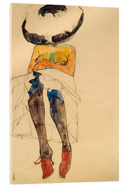 Akrylbillede  Seated Semi Nude with Hat and Purple Stockings - Egon Schiele