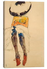 Lærredsbillede  Seated Semi Nude with Hat and Purple Stockings - Egon Schiele