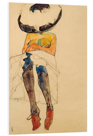 Print på skumplade  Seated Semi Nude with Hat and Purple Stockings - Egon Schiele