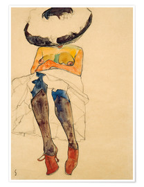 Premium-plakat  Seated Semi Nude with Hat and Purple Stockings - Egon Schiele