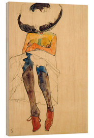 Print på træ  Seated Semi Nude with Hat and Purple Stockings - Egon Schiele