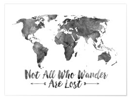 Premium-plakat  Not all who wander are lost - Verdenskort akvarel - Mod Pop Deco