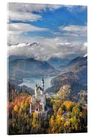 Akrylbillede  Neuschwanstein Castle at Autumn - Dieter Meyrl
