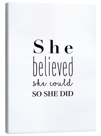 Lærredsbillede  She believed she could so she did - Finlay and Noa