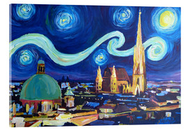 Akrylbillede  Starry Night in Vienna Austria   Saint Stephan Cathedral Van Gogh Inspirations - M. Bleichner
