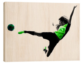 Print på træ  Female Footballer jumping