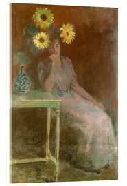 Akrylbillede  Sedentary woman next to a vase with sunflowers - Claude Monet