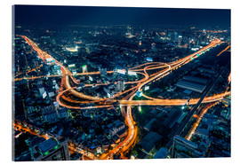 Akrylbillede  Aerial view of Bangkok at night - Jan Christopher Becke