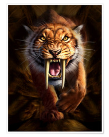 Premium-plakat  Full on view of a Saber-toothed Tiger - Jerry LoFaro
