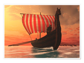 Premium-plakat  A Viking longboat sails to new shores - Corey Ford