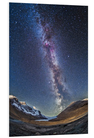 Print på skumplade  Milky Way over the Columbia Icefields in Jasper National Park, Canada. - Alan Dyer