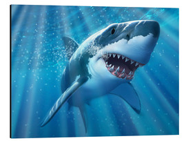 Print på aluminium  A Great White Shark with sunrays just below the surface. - Jerry LoFaro