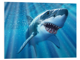 Print på skumplade  A Great White Shark with sunrays just below the surface. - Jerry LoFaro
