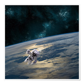 Premium-plakat An astronaut floating above Earth.