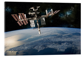 Akrylbillede  Space Shuttle at International Space Station - Marc Ward