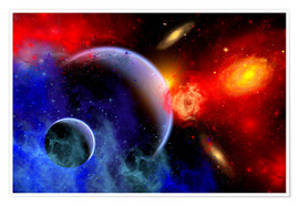 Premium-plakat A mixture of colorful stars, planets, nebulae and galaxies