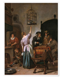 Premium-plakat  Room with a woman and a parrot - Jan Havicksz. Steen