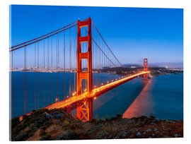 Akrylbillede  Night shot of the Golden Gate Bridge in San Francisco California, USA - Jan Christopher Becke