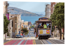 Akrylbillede  Cable car on a hill in the streets of San Francisco, California, USA - Matteo Colombo