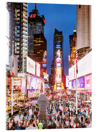 Akrylbillede  Times square at night illuminated by neon lights, New York city, USA - Matteo Colombo