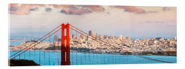 Akrylbillede  Panoramic sunset over Golden gate bridge and San Francisco bay, California, USA - Matteo Colombo