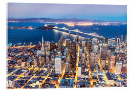 Akrylbillede  Aerial view of San Francisco downtown with Bay bridge at night, California, USA - Matteo Colombo