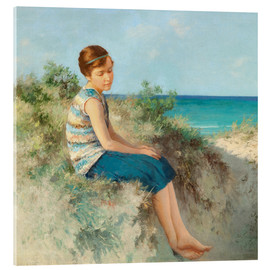 Akrylbillede  Girl in the dunes by the North Sea beach on Sylt - Hermann Seeger