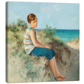 Lærredsbillede  Girl in the dunes by the North Sea beach on Sylt - Hermann Seeger