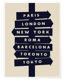 Premium-plakat City signs travel locations art print