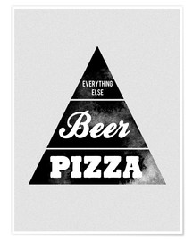 Premium-plakat Food graphic beer pizza logo parody