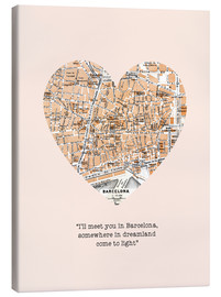 Lærredsbillede  I'll meet you in Barcelona - Romance Typo - Nory Glory Prints