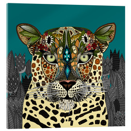 Akrylbillede  Leopard Queen teal - Sharon Turner