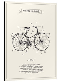 Print på aluminium  Vintage parts of a bicycle anatomy - Nory Glory Prints