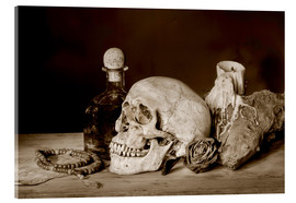 Akrylbillede  Still Life - skull, ancient book, dry rose and candle