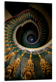 Akrylbillede  Ornamented spiral staircase in green and yellow - Jaroslaw Blaminsky