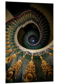 Print på skumplade  Ornamented spiral staircase in green and yellow - Jaroslaw Blaminsky