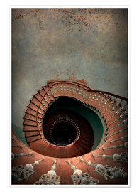 Premium-plakat Spiral staircase in red
