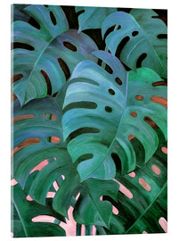 Akrylbillede  Monstera Love in Teal and Emerald Green - Micklyn Le Feuvre