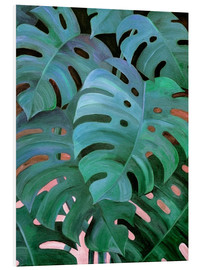 Print på skumplade  Monstera Love in Teal and Emerald Green - Micklyn Le Feuvre