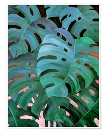 Premium-plakat  Monstera Love in Teal and Emerald Green - Micklyn Le Feuvre