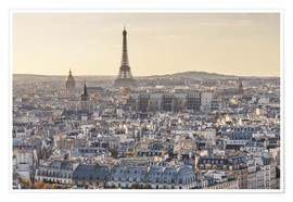 Premium-plakat Eiffel tower and city of Paris at sunset, France