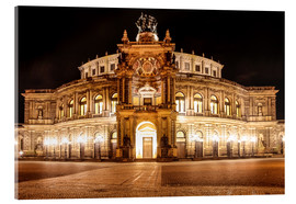 Akrylbillede  Saxon State Opera House in Dresden at night (Germany) - Christian Müringer