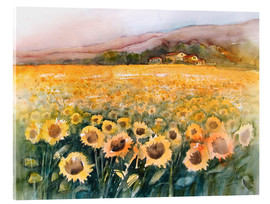 Akrylbillede  Sunflower field in the Luberon, Provence - Eckard Funck