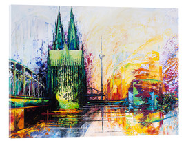 Akrylbillede  Cologne Cathedral Skyline colored - Renate Berghaus