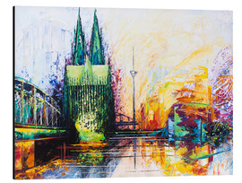 Print på aluminium  Cologne Cathedral Skyline colored - Renate Berghaus