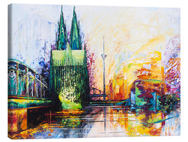 Lærredsbillede  Cologne Cathedral Skyline colored - Renate Berghaus