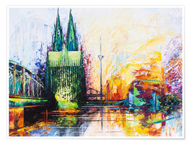Premium-plakat  Cologne Cathedral Skyline colored - Renate Berghaus