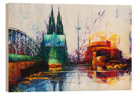 Print på træ  Cologne Cathedral Skyline - Renate Berghaus